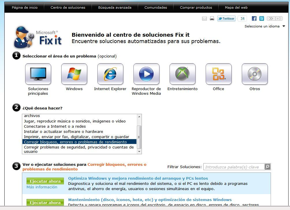 Arregla tu ordenador. Microsoft Fix it.