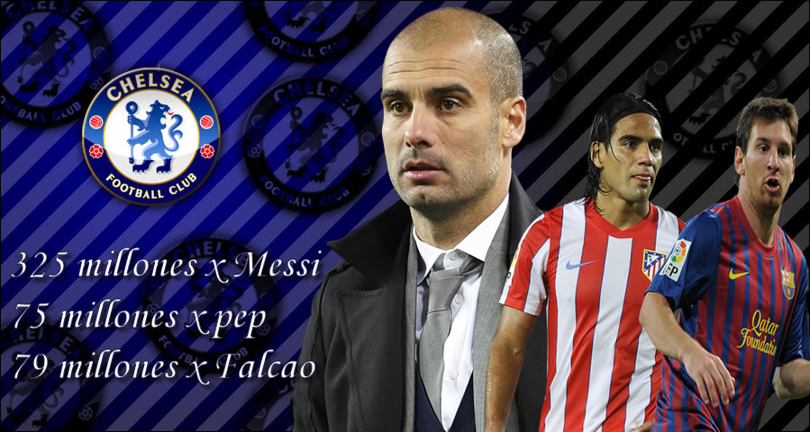 Messi, Pep Guardiola y Falcao al Chelsea